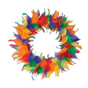 "Image of 12"" Inch Rainbow Gay Pride Holiday Feather Wreath - LGBT Gay & Lesbian Pride"