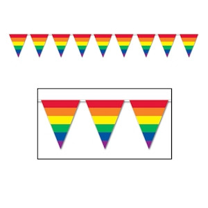 Image of 12' Foot Rainbow Gay Pride Flag (Triangle Stripe) Party Banner - LGBT Gay and Lesbian Pride Party Supplies