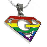 Super Gay - Rainbow Pendant - LGBT Gay and Lesbian Pride Necklace with chain