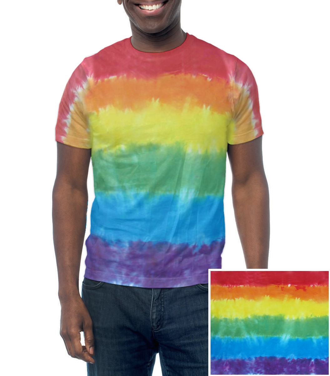Image of Rainbow Flag Tie Dye T-Shirt Handmade ∧ Unique LGBT Lesbian and Gay Pride Apparel and Clothes. LGBT Gay Pride T-Shirt Pride Clothing