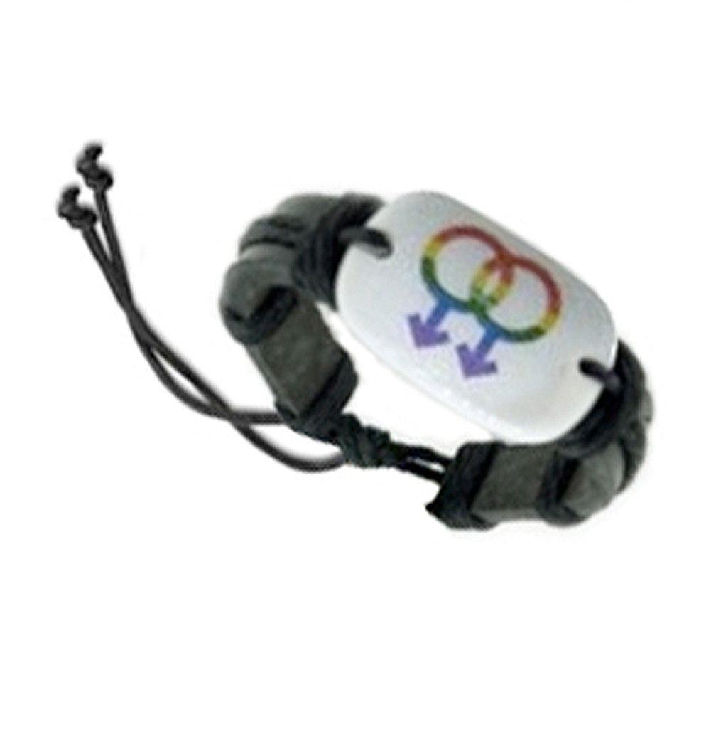 Image of Mens Double Mars Gay White Panel Leather Wristlet Male Gay Pride Bracelet