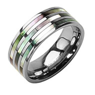 Triple Multi Color Abalone Inlay Ring - Titanium Steel Ring Band (Organic colors)
