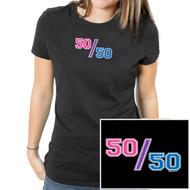 """""""50/50"""" (Bisexual Pride Flag Colors) - UNISEX - Comical Bi Pride Black T-Shirt - LGBT Pride Clothing & Apparel"""