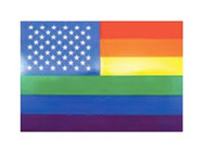 Gay American - Stars and Stripes U.S. Rainbow Flag Sticker 3x4.5 inch - LGBT Gay and Lesbian Pride Decal