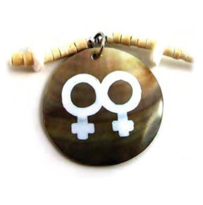 Image of Painted Double Female Round Bead Brown Shell Necklace LGBT Lesbian Pride Jewelry