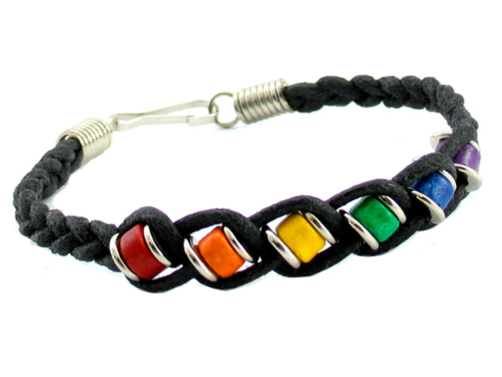 92f067a170 ... Jewelry Black Woven Ceramic Bead Rainbow Bracelet (thin width) - LGBT  Gay and Lesbian Pride ...