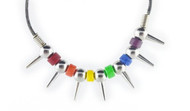 Black and Rainbow Spiked Ceramic Necklace - LGBT Gay and Lesbian Pride Jewelry