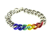 "Thin Rainbow Steel 8"" Linkage Bracelet - LGBT Gay and Lesbian Pride Jewelry"