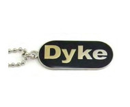 "Lesbian ""Dyke"" Comical Lesbian Pride Black Dog Tag Necklace - LGBT Gay and Lesbian Pride Jewelry"