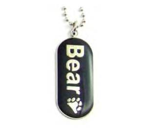 "Image of Pendant ""Bear"" with Paw Comical Gay Pride Black Dog Tag Necklace LGBT Men's Gay Pride Jewelry"