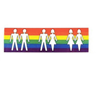 Love is Love - (Rainbow with all couples) - Bumper Sticker (2.5 x 9.25 inch) - LGBT Straight, Lesbian and Gay Pride Car / Vehicle Decal