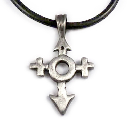 Image of Male and Female Symbols Crossed Pendant LGBT Supporter Pride Necklace / Jewelry Silver Color Pewter