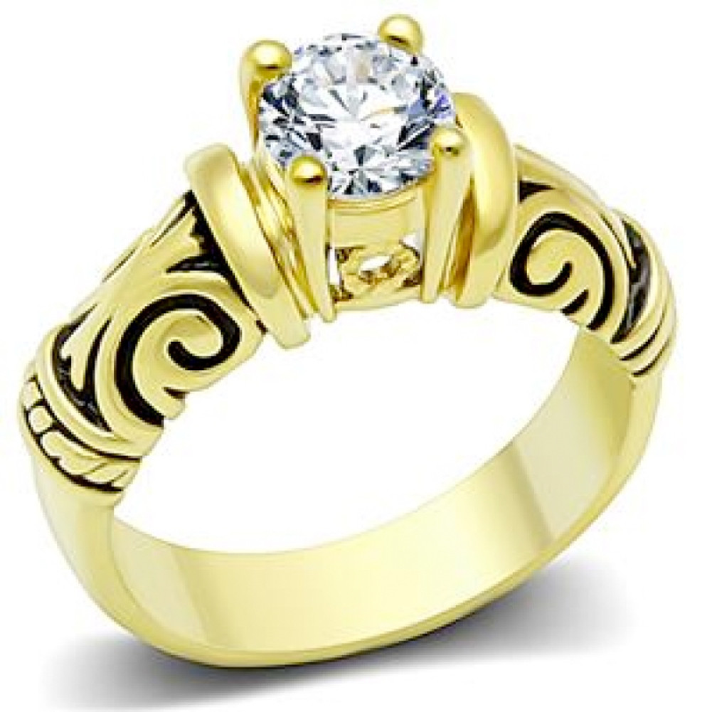 Gold Plated Middle Stone Tribal Ring - Love and Promise Ring / Commitment Marriage Engagements