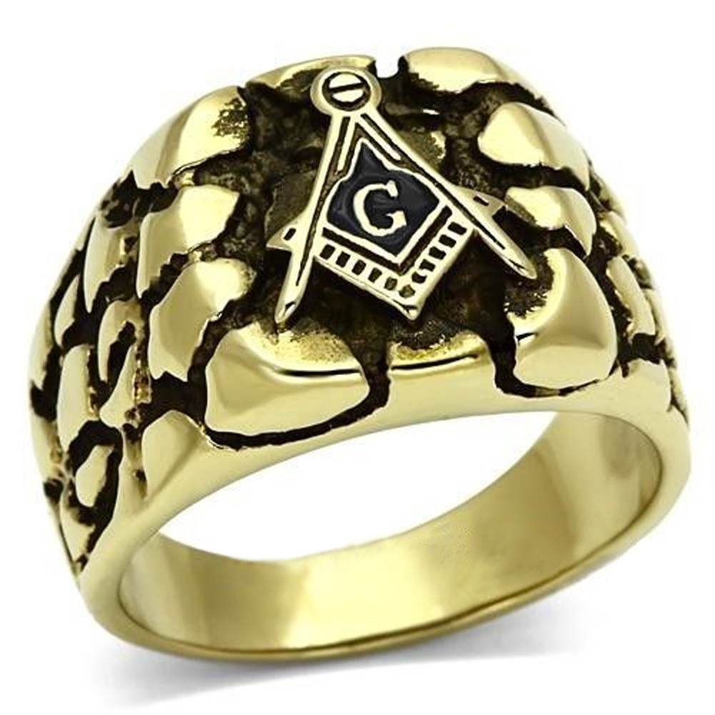 Gold Plated Rocky Face Freemason Ring / Masonic Ring - Enamel & Stainless Steel Band for a Mason