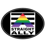 Straight Ally Oval Rainbow Magnet - Gay Pride Supporter - LGBT Pride Car Magnet