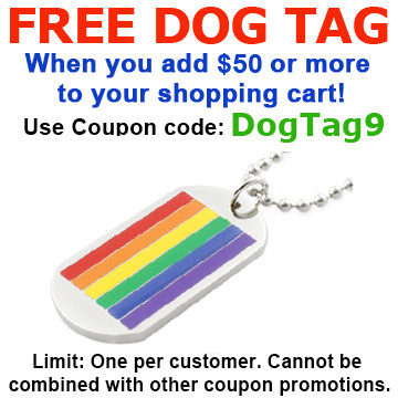 Image of FREE with $50 or more! Coupon Code: DOGTAG9 Get (1) LGBT Classic Gay Flag Rainbow Dog Tag LGBT Gay and Lesbian Pride Necklace
