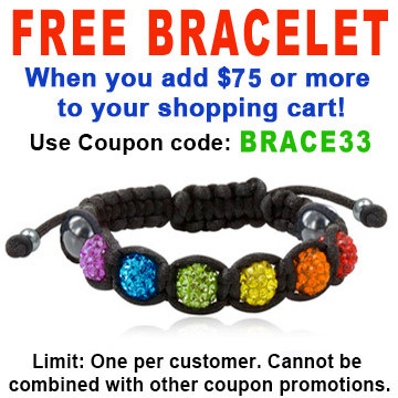 Image of FREE with $75 or more! Coupon Code: BRACE33 Get (1) Shamballa Rainbow Adjustable Black Wristlet Gay and Lesbian LGBT Pride Bracelet