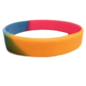 Image of Pansexual Pride Silicone Bracelet Wristlet LGBT Pan Sexual Flag Wristband w/ Pan Pride Flag Colors