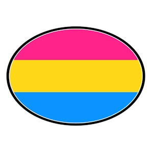 Pansexual Flag - LGBT Pan Pride - Oval Car Magnet (Pan Sexual Flag)