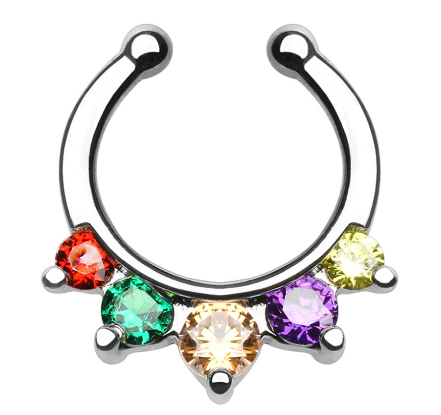 Lesbian & Gay Pride Triangle Paved CZ Non-Piercing Septum Hanger for Nose (Clip on style) - LGBT Jewelry / Pride (Nose Ring/Body Jewelry)