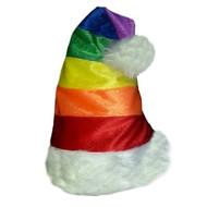 Christmas / Holiday Rainbow White Furry Santa Hat - LGBT Gay & Lesbian Pride Hat