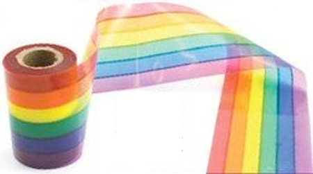 Image of 50 Foot Rainbow Gay Pride Flag Crime Scene Ribbon Party Banner LGBT Gay and Lesbian Pride Party Supplies