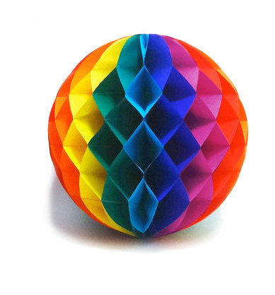 Image of 12 Inch Rainbow Gay Pride Flag Honey Comb Ball Party Banner - LGBT Gay and Lesbian Pride Party Supplies