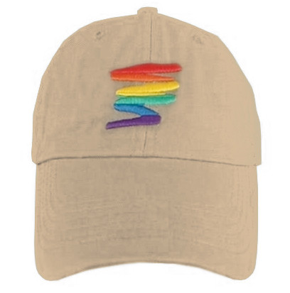 Image of Tan Baseball Cap with Gay Rainbow Squiggle LGBT Gay and Lesbian Pride Hat. LGBT Gay and Lesbian Pride Clothing ∧ Apparel