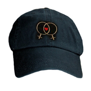 Black Baseball Cap with Double Venus Lesbian Female Symbols and Mini Heart - LGBT Lesbian Pride Hat. Lesbian Pride Clothing & Apparel