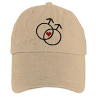 Tan Baseball Cap with Double Mars Gay Male Symbols and Mini Heart - LGBT Gay Men's Pride Hat. Gay Pride Clothing & Apparel