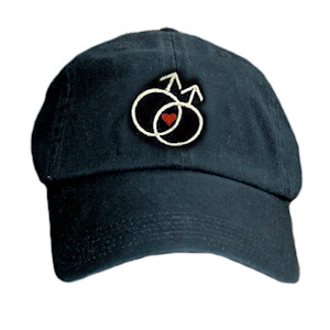 Black Baseball Cap with Double Mars Gay Male Symbols and Mini Heart - LGBT Gay Men's Pride Hat. Gay Pride Clothing & Apparel Black_Baseball_Cap_Gay_Male_HRT