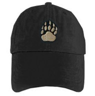 Black Baseball Cap with Gay Bear Pride Paw Symbol - LGBT Gay Men's Pride Hat. Gay Bear Pride Clothing & Apparel
