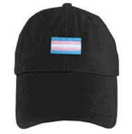 Black Baseball Cap with LGBT Transgender Flag - LGBT Trans Pride Hat. LGBT Gay and Lesbian Pride Clothing & Apparel