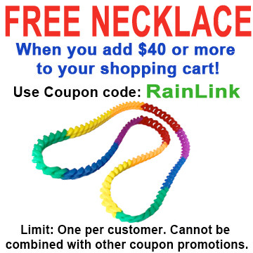 """Image of FREE Rainbow Silicone Soft Link Necklace 34"""" Long Gay ∧ Lesbian Pride. FREE Rainbow Silicone Chain Necklace with $40 or more added to cart Use coupon code: RAINLINK Limit One per Customer."""