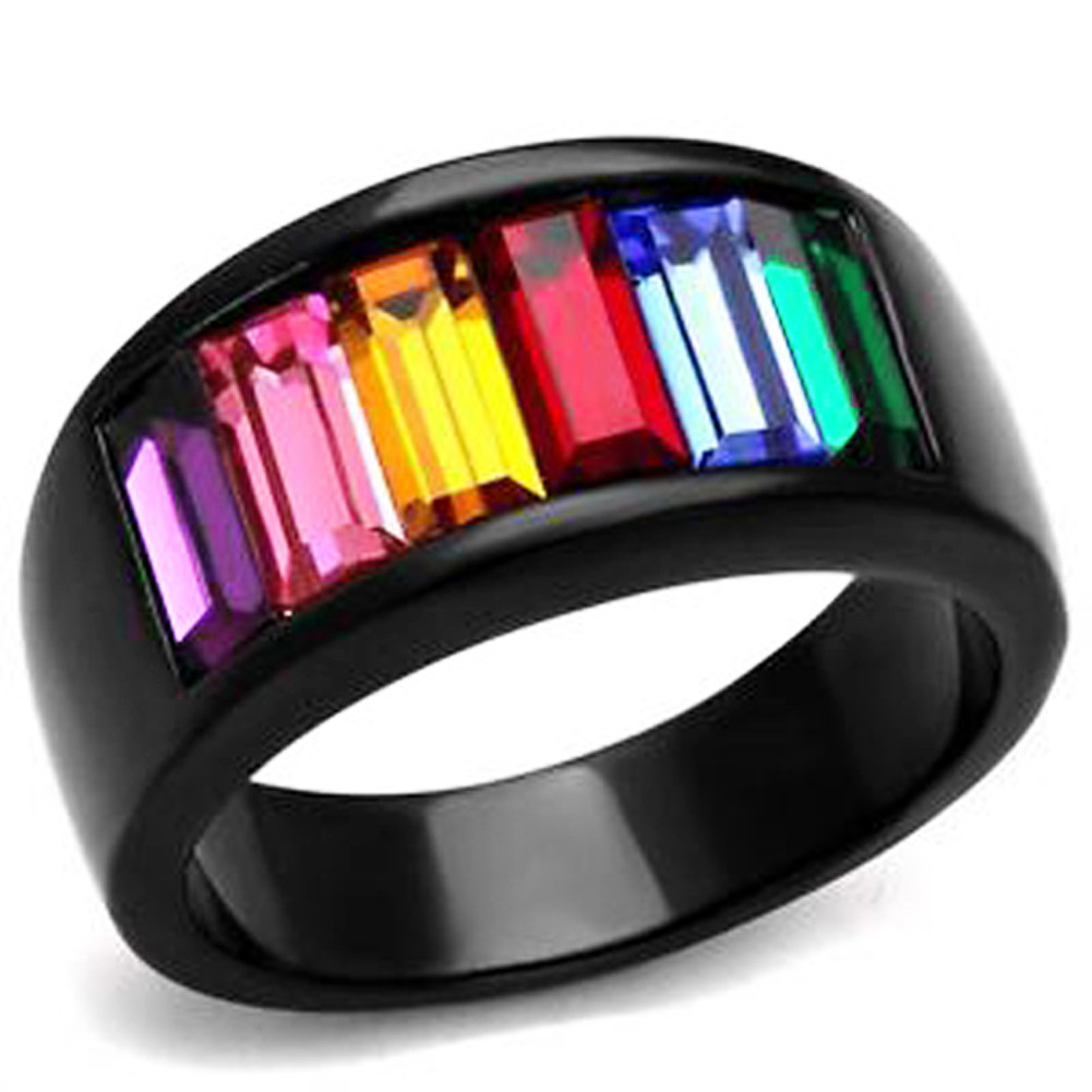 Black Beauty Rainbow CZ Ring - Lesbian & Gay Pride Black Ion Plated Ring w/ CZ Stones