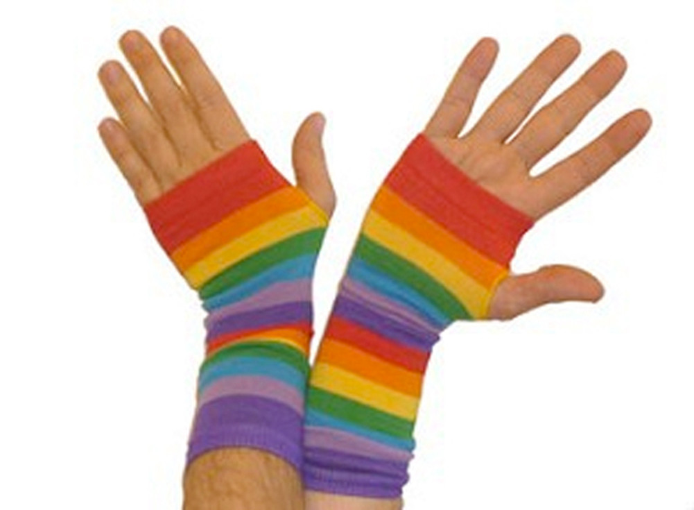Image of Rainbow Gay Pride Arm Warmers (Pair) LGBT Gay and Lesbian Pride Apparel and Clothing