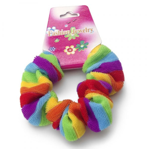 Image of Rainbow Fluffy Hair Scrunchy (Pony Tail Hair Band) LGBT Gay and Lesbian Pride Party and Parade Accessory