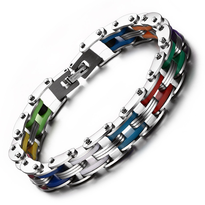 Rainbow Steel Chain Bike Gear Bracelet - LGBT Gay and Lesbian Pride Jewelry
