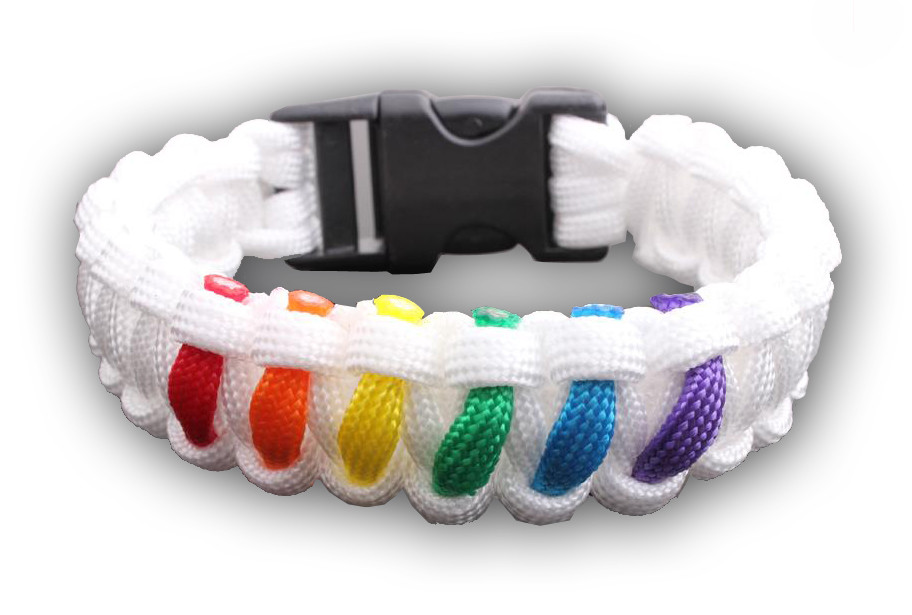 Image of White 6 Stripe Rainbow Snap Clasp Paracord Bracelet Gay Pride Bracelet LGBT Lesbian Pride Wristband
