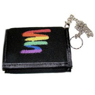 "Black with Rainbow Squiggle Pride Velcro Wallet w/ 13"" Chain - LGBT Gay and Lesbian"