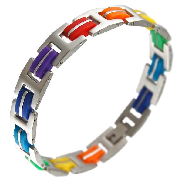 Image of Steel Rubber Major Mix Rainbow Bracelet Gay and Lesbian LGBT Bracelets / Pride Wristlet