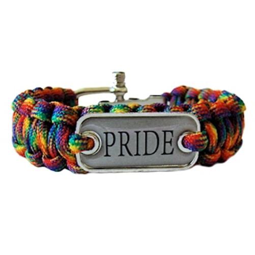 Image of Braided Rainbow Pride Plate Paracord Bracelet Gay Pride Bracelet LGBT Lesbian Pride Wristband