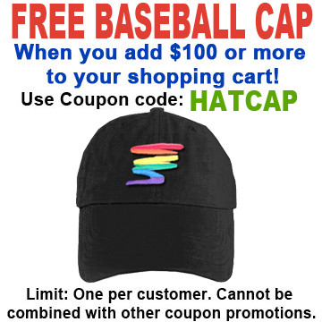 Image of FREE hat with over $100 Use coupon code HATCAP Black Rainbow Squiggle Baseball Cap LGBT Gay and Lesbian Pride Hat