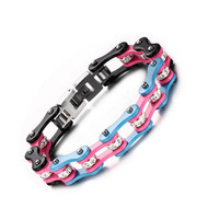 Transgender Pride Stainless Steel Bracelet (Bike Gear Chain Wristlet) - LGBT Pride Wristband w/ Transgender Flag Colors