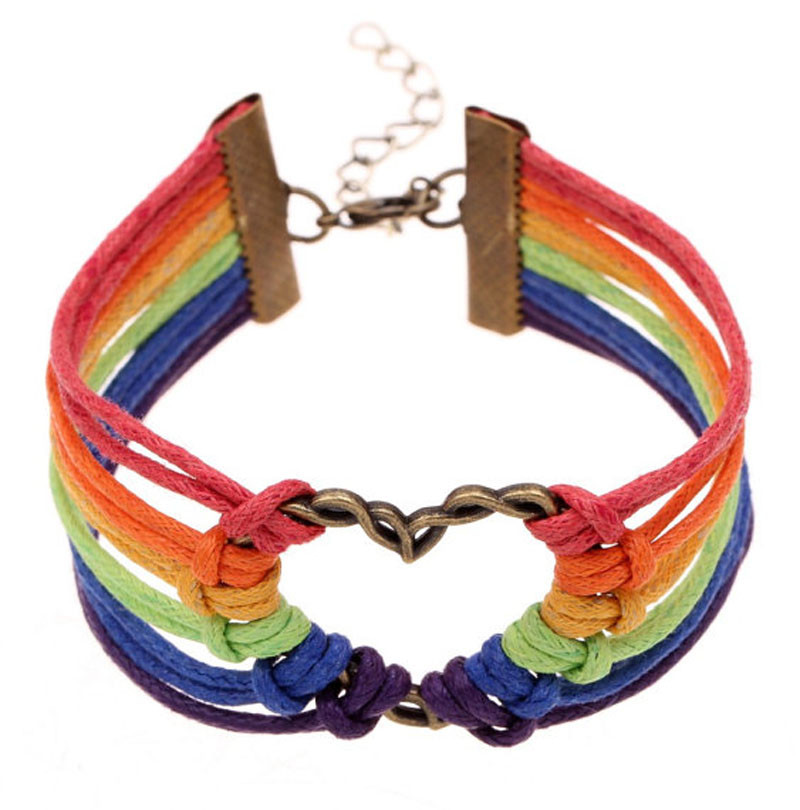 Image of Gay and Lesbian Rainbow Infinity Heart Streamer Bracelet. (Leather Braided Rainbow) LGBT Merchandise Jewelry and Accessories