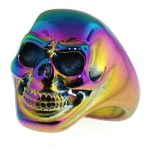Anodized Rainbow Skull Ring With Smiling Skeleton Face