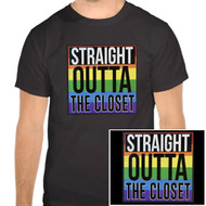 "Unisex ""Straight Outta the Closet""  - Black and Rainbow T-Shirt - LGBT Gifts - Gay and Lesbian Pride Clothing & Apparel. Funny Gay Pride Black T-Shirt."