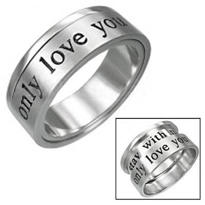 Only Love You - Promise Ring Lovers Commitment - 316L Stainless Steel Ring.