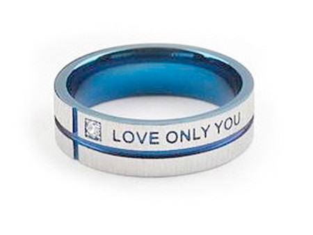 Blue Tint Only Love You - Promise Ring - Titanium Steel w/ CZ stone.