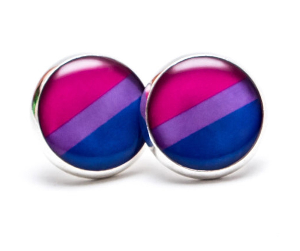 Bi Pride Flag Symbol Earrings - Bisexual Flag Stud Earrings (Pair)